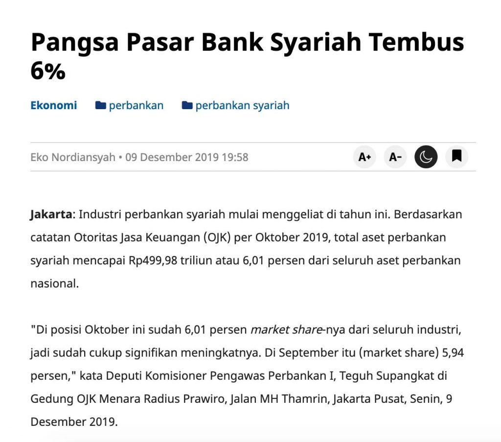 Sumber : https://www.medcom.id/ekonomi/mikro/VNxZx5gk-pangsa-pasar-bank-syariah-tembus-6
